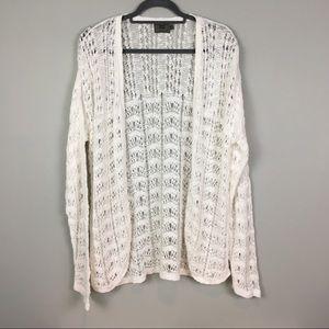 White loose knit summer cardigan L